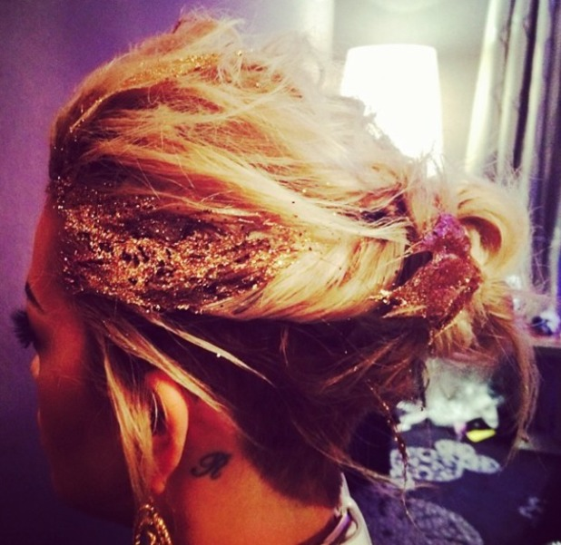 Rita Ora works some gold glitter in her hair at the Blue Balls Festival, Lucerne, Switzerland, 24 July 2014