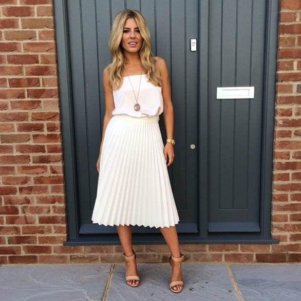 Mollie King wears a pleated skirt in an Instagram picture - 21 July 2014