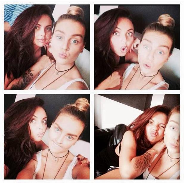 Perrie Edwards and Jesy Nelson pose for funny selfies wearing no make-up, 23 July 2014
