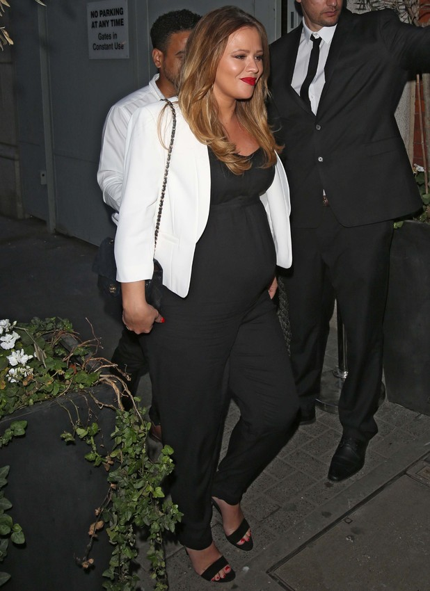 Pregnant Kimberley Walsh attends Cheryl Cole Wedding party held at the Library on St Martins Lane - 21 July 2014