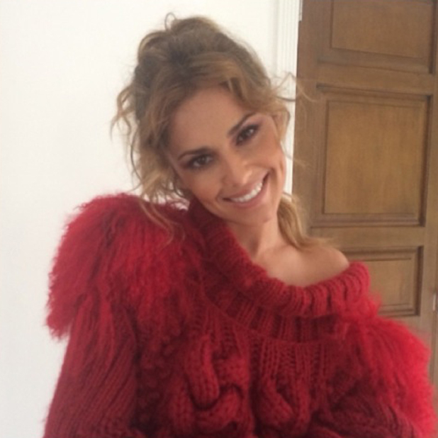 Cheryl Cole wears red jumper in selfie posted the morning after her second wedding celebration, 22 July 2014