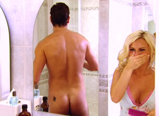 James Lock flashes his bum on TOWIE episode aired 21 July 2014.