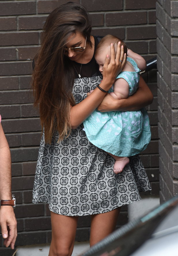 Peter Andre and Emily MacDonagh outside ITV studios with baby Amelia, 25 July 2014