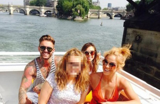 Geordie Shore series 9 in Paris, Vicky Pattison, Aaron Chalmers and Holly Hagan pose with a fan, Twitter, 23 July