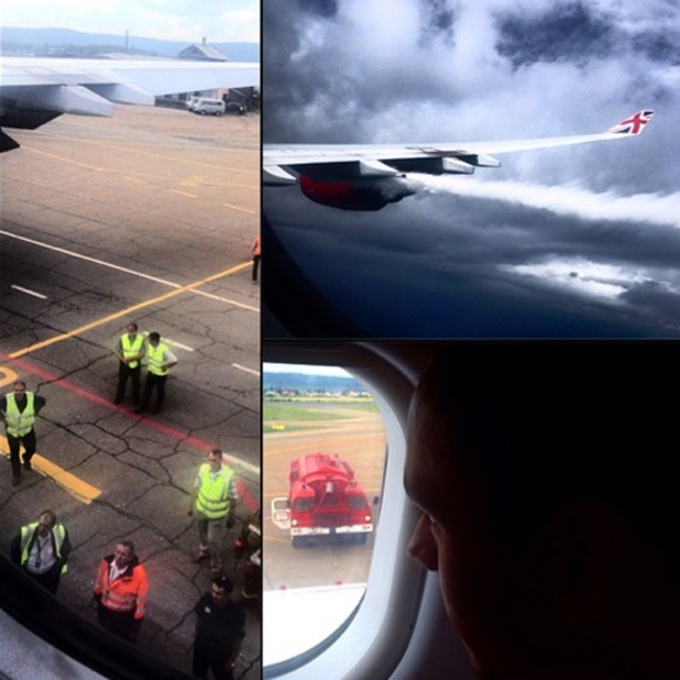 Dustin Lance Black shares photos of plane that he and Tom Daley were travelling in when it made an emergency landing in Russia, 21 July 2014