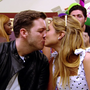 TOWIE series 12 finale: Fran Parman and boyfriend James 'Diags' Bennewith at Grease-themed party. 30 July 2014.