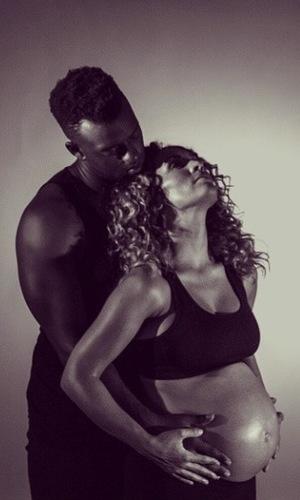 Oritsé Williams' pregnant girlfriend Aimee Jade Azari in recent photo shoot (24 July 2014).