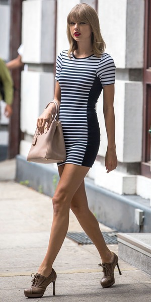 Taylor Swift wears a striped dress while out in New York, America - 31 July 2014