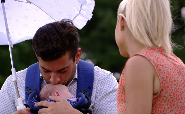 TOWIE preview: James 'Arg' Argent kisses baby Nelly Shepherd. Airs: Wednesday 30 July 2014.