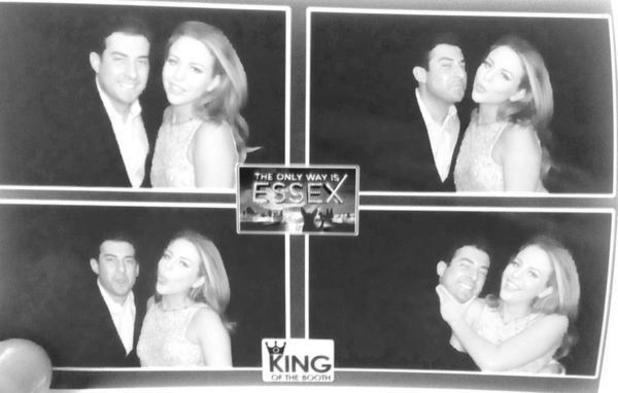 James 'Arg' Argent and Lydia Bright pose in the photobooth at the TOWIE wrap party. 30 July 2014.