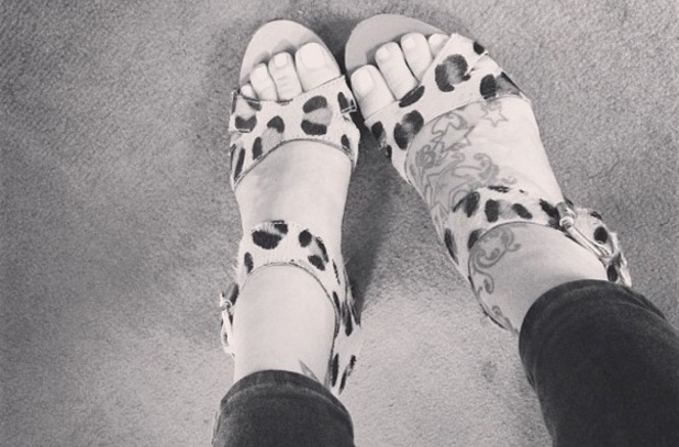 Fearne Cotton leopard-print sandals, Instagram 1 August