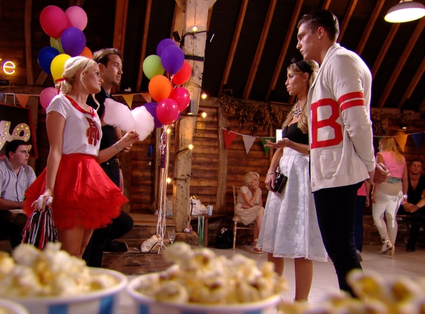 Lewis Bloor defends Lauren Pope as she comes face-to-face with Danielle Armstrong and James 'Lockie' Lock at the Grease-themed party. TOWIE series finale episode airs Wednesday 30 July 2014.