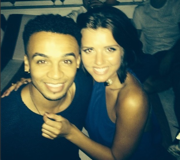 Lucy Mecklenbergh hangs out with Aston Merrygold at a pool party, 3.8.14