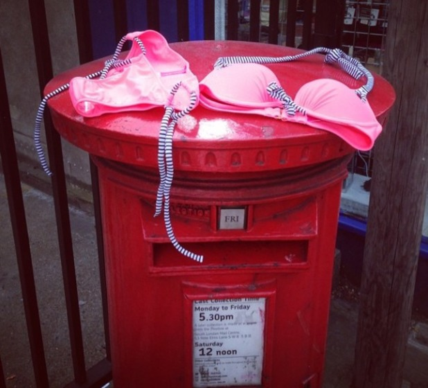Rosie Fortescue buys a bikini, puts it on a letter box. Aug 2014.