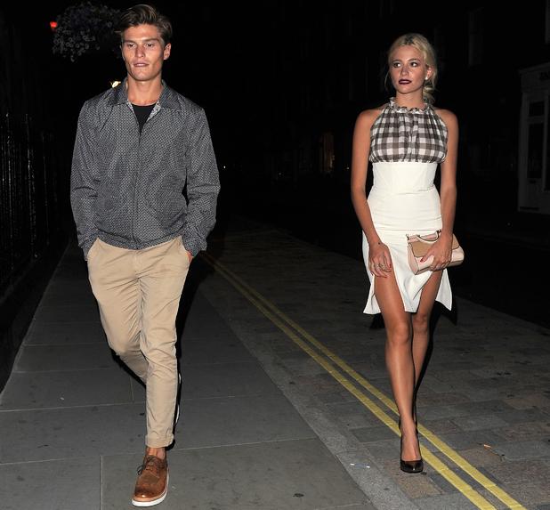 Pixie Lott and boyfriend Oliver Cheshire outside Chiltern Firehouse, Marylebone, London 29 July