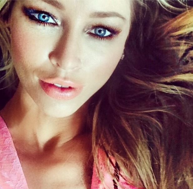 Lauren Pope shows off a close-up of her bronze, smoky eye make-up from Tickled Pink shoot, 29 July 2014