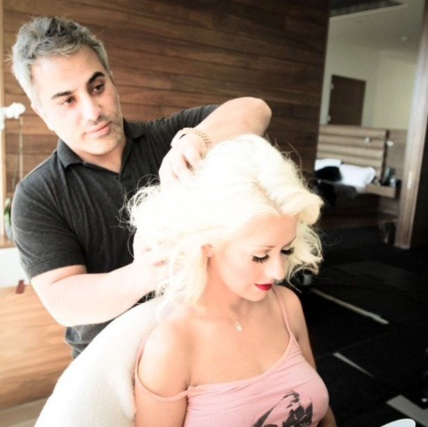 Christina Aguilera with her hairdresser David Babaii, 28 July 2014