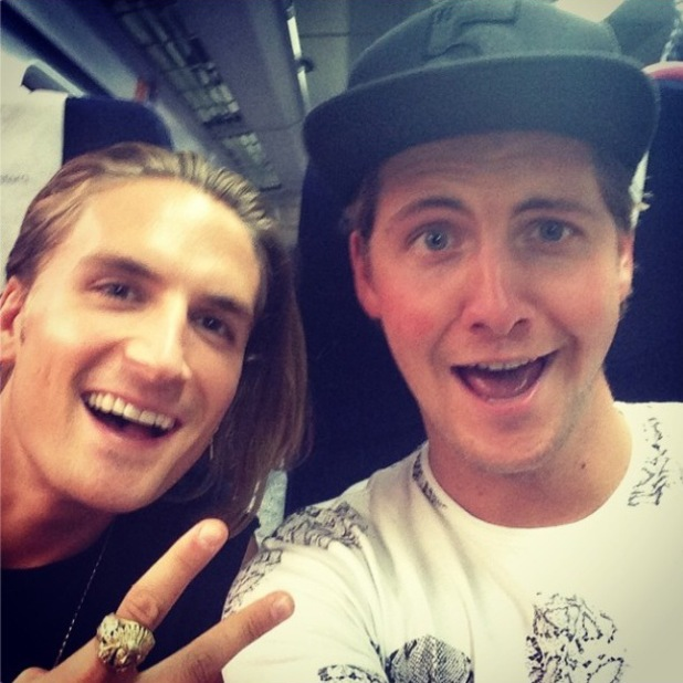 Made In Chelsea's Stevie Johnson and Oliver Proudlock take selfie on way to Bristol (31 July).