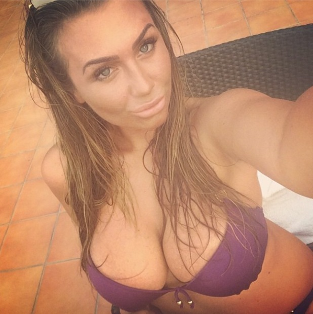 Lauren Goodger goes on major selfie spree while wearing purple bikini in Dubai - 1 August 2014