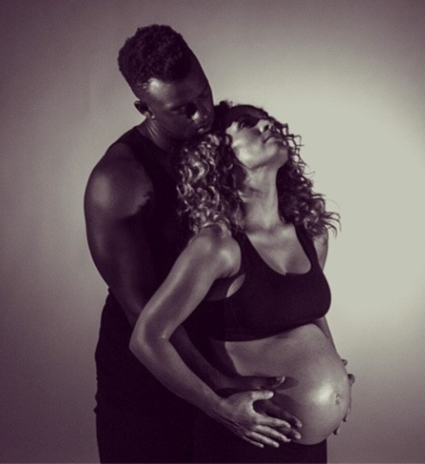 Oritsé Williams' pregnant girlfriend Aimee Jade Azari in recent photo shoot (24 July 2014).