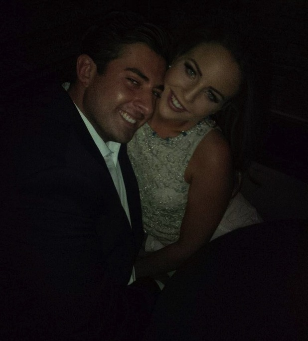 James 'Arg' Argent and Lydia Bright pose for photo at the TOWIE wrap party. 30 July 2014.