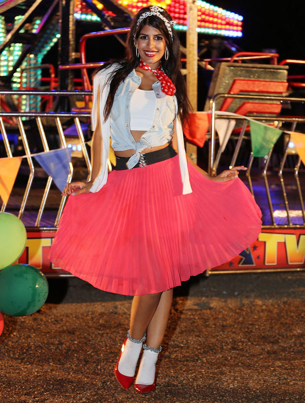 TOWIE's Jasmin Walia attends a Grease-themed party at a fairground in Kent, England - 27 July 2014