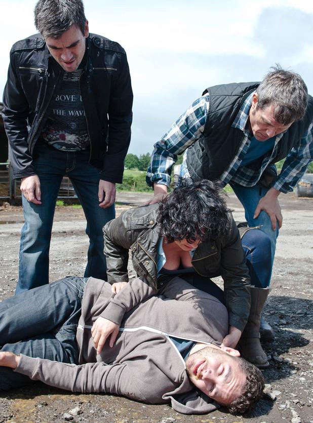 Emmerdale, Adam collapses, Thu 31 Jul