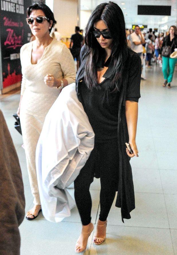 Kris Jenner and Kim Kardashian arriving at Ibiza airport, Spain - 01 Aug 2014