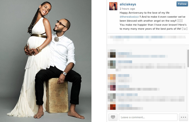 Alicia Keys and Swizz Beatz announce they are expecting a second child, 30 July 2014