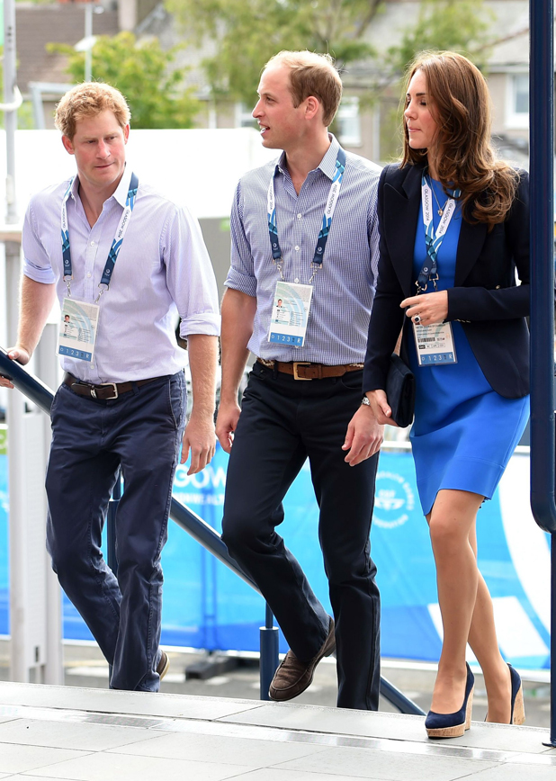 Prince William, Catherine Duchess of Cambridge and Prince Harry arriving at Hampden Park to watch the athletics 29 Jul 2014