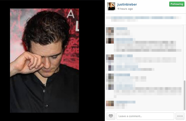 Justin Bieber uploads image of Orlando Bloom appearing to cry, 30 July 2014