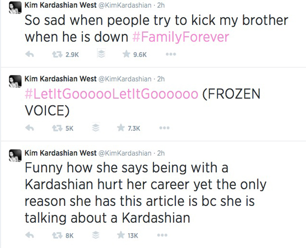 Kim Kardashian tweets about Adrienne Bailon's Latina interview about brother Rob, 29 July 2014