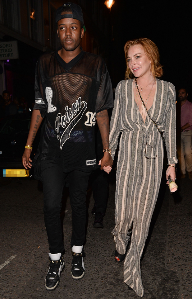 Vas J Morgan and Lindsay Lohan at Miabella Club, London, Britain - 31 Jul 2014