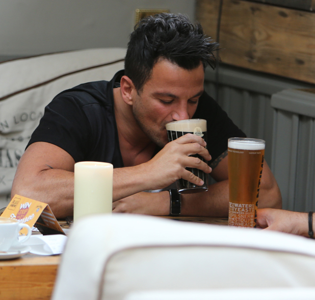Peter Andre enjoys a drink with friends in a pub opposite the ITV studios, 29 July 2014