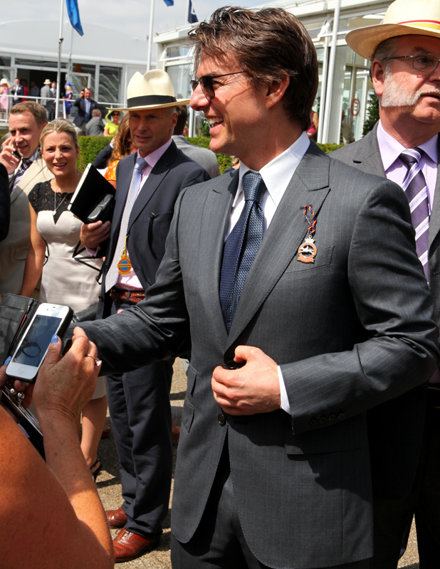 Tom Cruise arriving at Goodwood Racecourse for 'Glorious Goodwood - Ladies Day, 31 July 2014