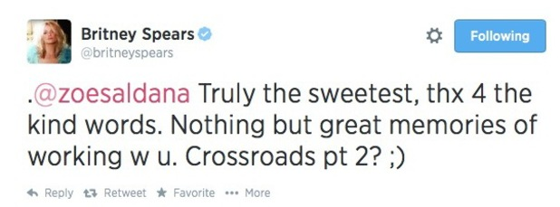 Britney Spears hints at Crossroads 2 while thanking Zoe Saldana for defending her - 5 August 2014