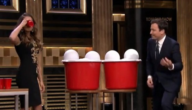Nina Dobrev plays giant beer pong with Jimmy Fallon, The Tonight Show, US 5 August