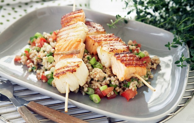 Salmon and scallop skewers