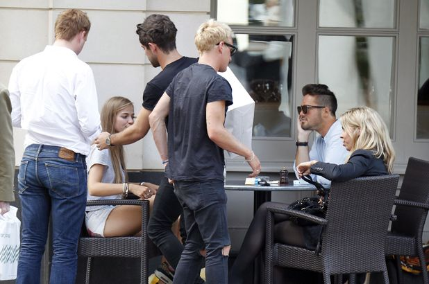 Made In Chelsea star Spencer Matthews enjoys birthday with co-stars Alex Mytton, Jamie Laing, Francis Boulle. 6 August 2014.