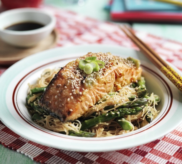 Asian salmon with rice noodle salad