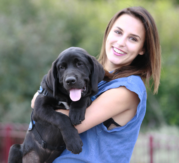 Lucy Watson meets Watson the Guide Dog, London 1 August