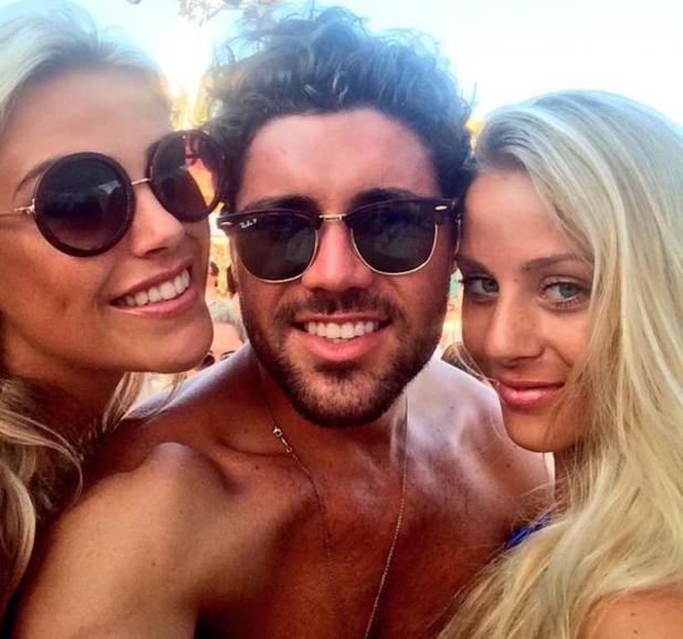 TOWIE's Tom Pearce cuddles up to mystery blondes at Ocean Beach Ibiza - 4 August 2014