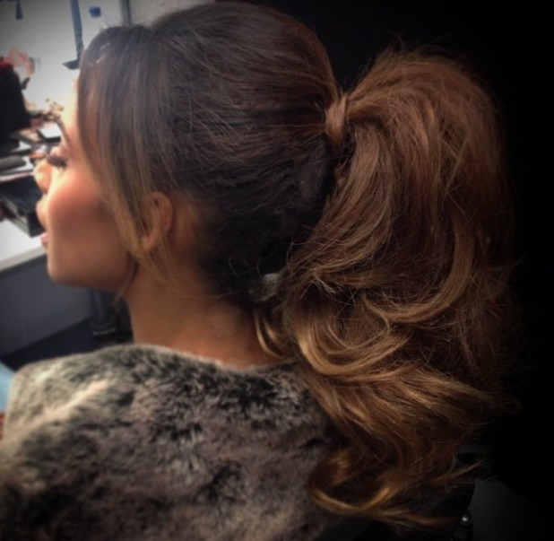 Rochelle Humes works her new, lighter Easilocks extensions into a fabulous high ponytail, 4 August 2014