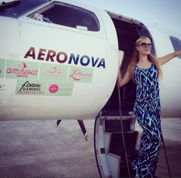 Paris Hilton jets to Barcelona, August 2014.