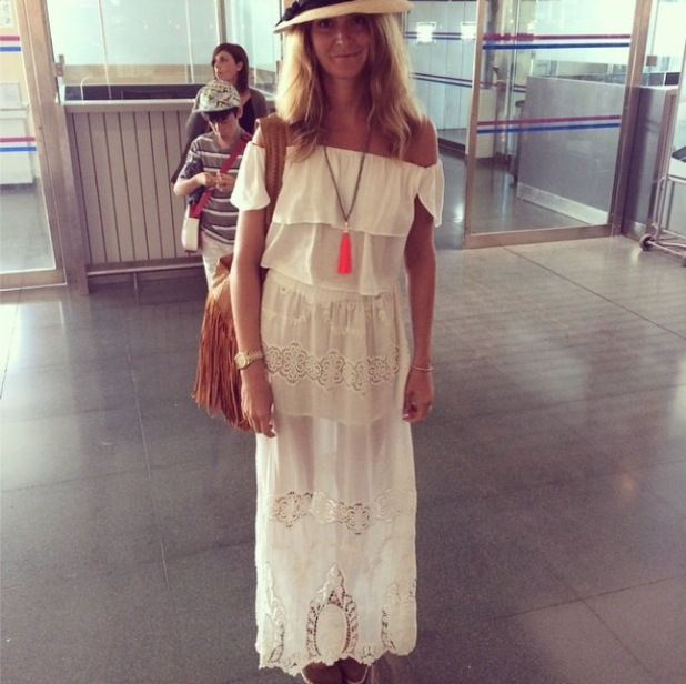 Millie Mackintosh at the airport in Ibiza while wearing white crochet dress - 5 August 2014