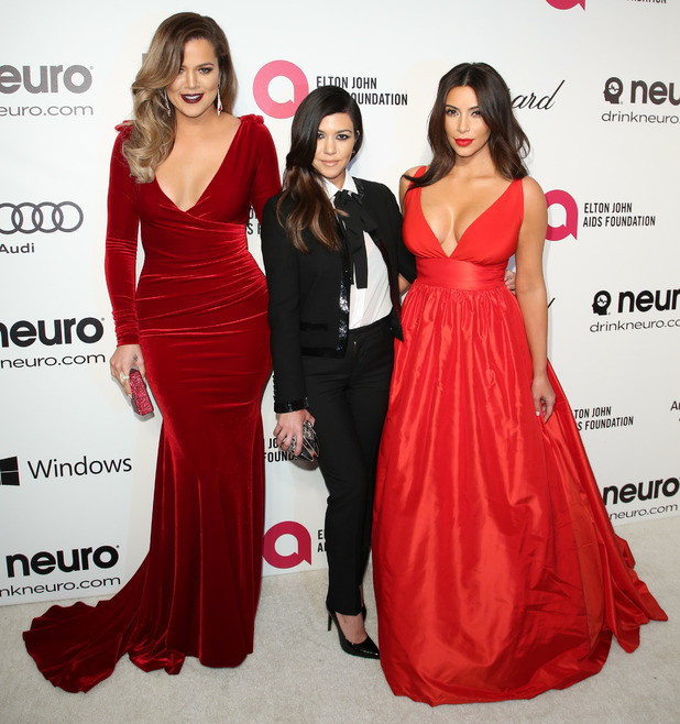 Kim Kardashian, Khloe Kardashian and Kourtney Kardashian attend the 22nd Annual Elton John AIDS Foundation Academy Awards Party - West Hollywood, America - 3 March 2014