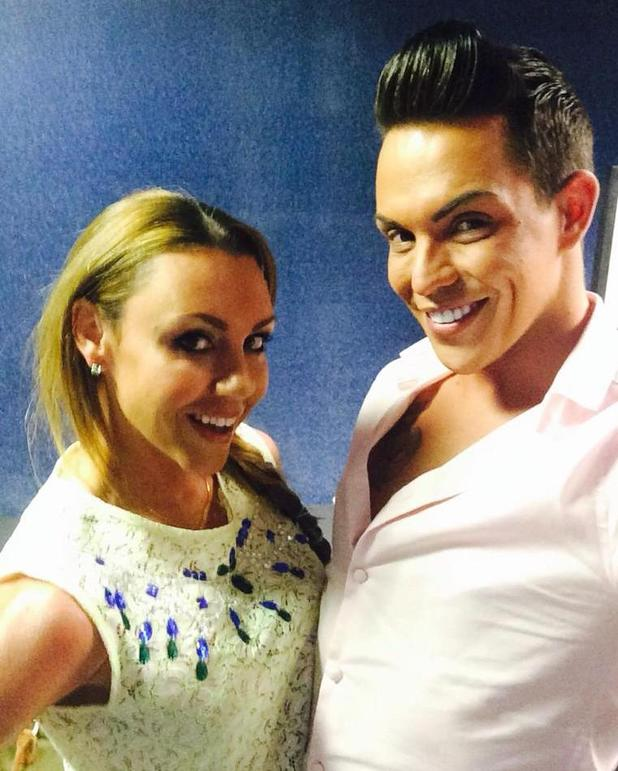 Bobby Norris and Michelle Heaton pose for selfie backstage at Big Brother's Bit On The Side (6 August).
