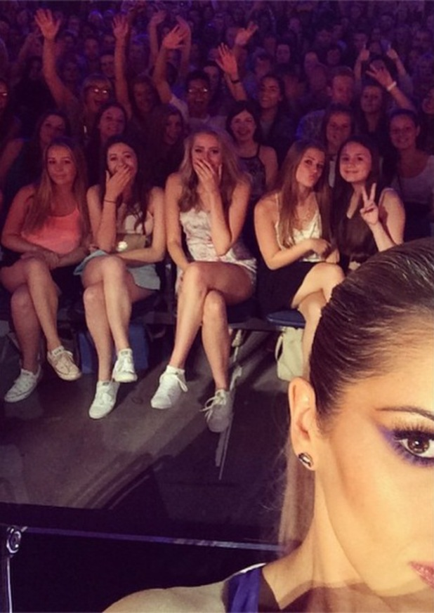 Cheryl Fernandez-Versini shows off purple eye make-up while filming The X Factor - 4 August 2014