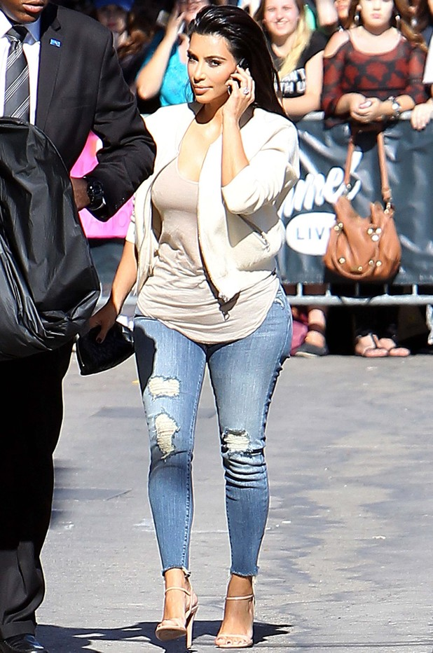 Kim Kardashian wears super-tight jeans to film Jimmy Kimmel Live in Los Angeles - 4 August 2014