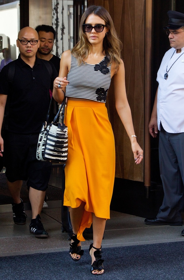Jessica Alba wears an orange skirt while out in New York, America - 5 August 2014